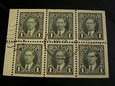 CANADA - #231b 1 cent KGVI BOOKLET PANE USED VF PREECEVILLE, SK CDS $28.00 CV