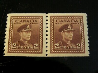 Canada - #279 2 Cent Kgvi Coil Pair 9 1/2V Perf. Mint Never Hinged Vf $60.00 Cv