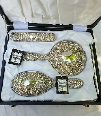 Broadway 4 piece 1975 Hallmarked Silver Dressing Table Set Doves & Green Man