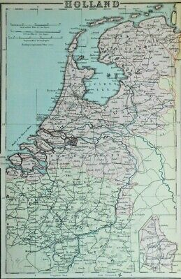 Antique colour map of Holland, Netherlands 1890