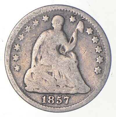 5c **1/2 Dime HALF** 1857 Seated Liberty Half Dime Early American Type Coin *219