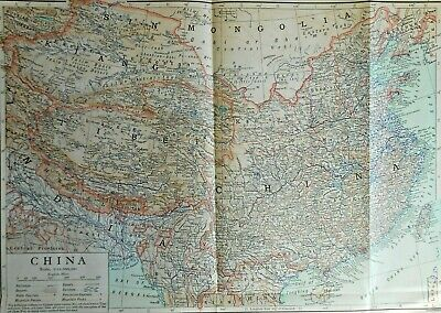 Antique colour map of China, 1890