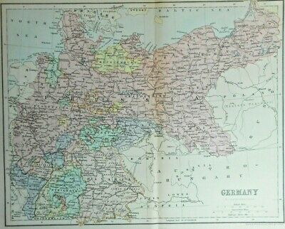 Antique colour map of Germany J. Bartholomew, 1890