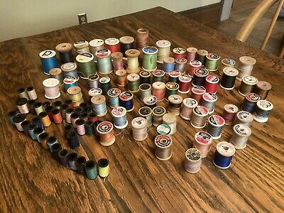 HUGE Lot Of 100 Vintage Thread Spools Used Talon Coats & Clark Amer. Thread Co.