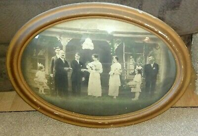 Antique Oval Convex Bubble Glass Wood Picture Frame Wedding Picture