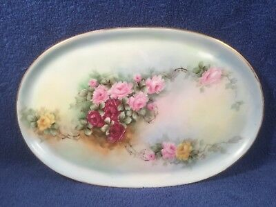 Dresser Tray Platter Antique Hand Painted Roses Porcelain Tray Platter
