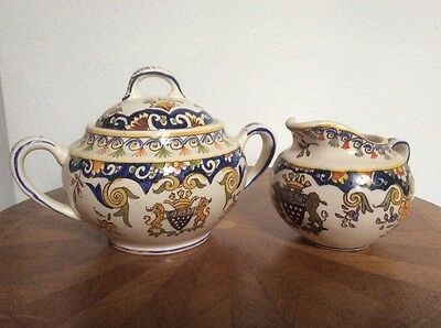 Antique Rouen Decor French Faience Sugar and Creamer