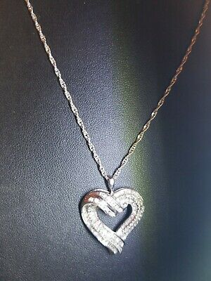 """Vintage Sterling Silver & CZ Heart Shaped Pendant Necklace 30"""" Sterling Chain"""