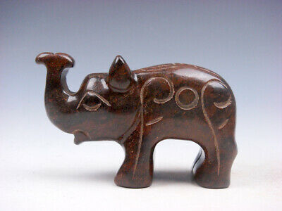 Old Nephrite Jade Stone Carved Sculpture Standing Elephant w/ Nose Up #05092004