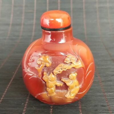 Chinese Exquisite Natural Agate Hand carved Figures Snuff bottle 11014