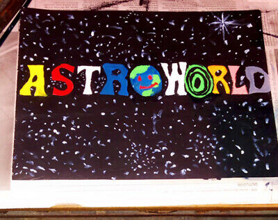 Acrylic On Canvas Paper New Hand Painted Astroworld Travis Scott Painting Fun
