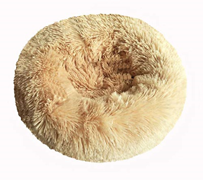 ANXUAN Luxury Fluffy Dog & Cat Bed Plush Donut Cuddler Round Pet Bed XL, Yellow