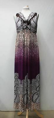 SOMA Ladies Purple Brown Paisley Print Knotted Waist V Neck Maxi Dress M
