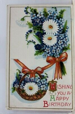 Greetings Wishing You a Happy Birthday Postcard Old Vintage Card View Standard
