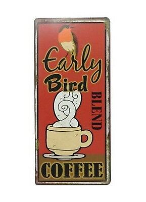 Blechschild Spruch Early Bird COFFEE Vintage Deko Kaffee Retro Wandschild Shabby