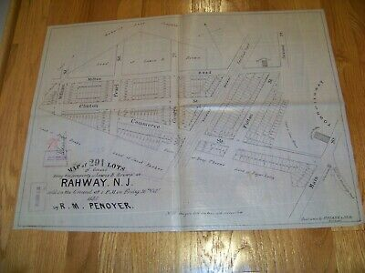 1835 Map Rahway New Jersey Lewis B. Brown R. M. Penoyer James S. Vosseller
