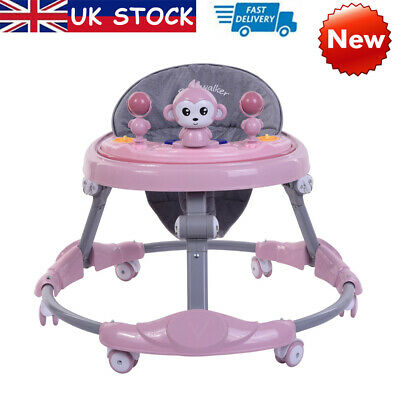 Pink Baby Walker Baby Girls First Steps Push Along Bouncer Activity Musical Tray