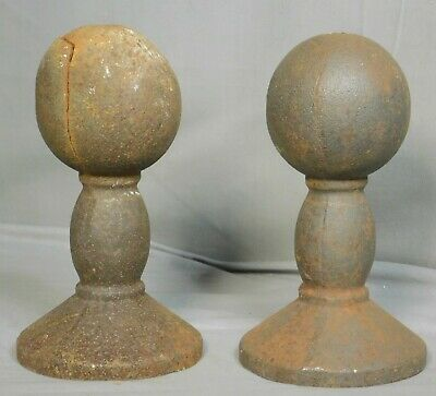 Pair Vintage Rusty Architectural DUMBBELL Finial Exterior Toppers ANTIQUE Garden
