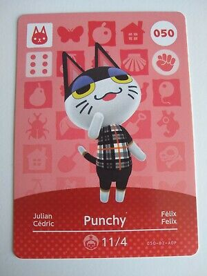 Punchy #050 Animal Crossing Amiibo Card Series 1 Nintendo Switch 3DS Wii U
