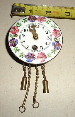 "VTG Antique German Miniature 2"" Wall Clock Enamel Hand painted Dial Dollhouse?"