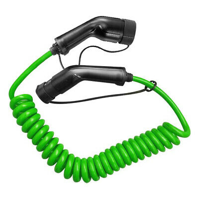 EV Coiled Charging Cable 16A 3.6KW Electric Car Spiral Charger Type2 To Type2