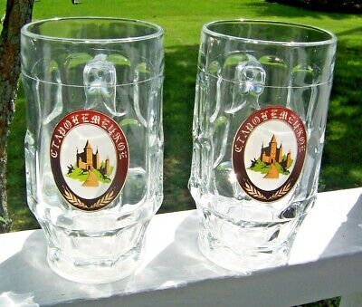 """SET OF 2 BEER GLASSES FROM KAZAKHSTAN w HANDLE EXCELLENT CONDITION 6"""" TALL"""