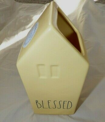 "Rae Dunn "" BLESSED "" Yellow House Flower VASE By Magenta NEW Spring 2020"