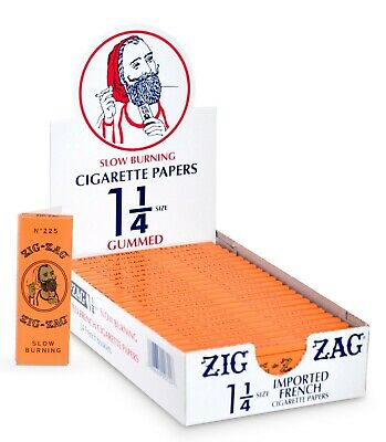 Zig Zag Orange French Rolling Papers 1 1/4 - 24 Pack - 100% Natural Gum Arabic