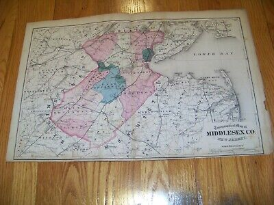 1872 Map F. W. Beers, Comstock & Cline Middlesex County NJ Perth Amboy Matawan