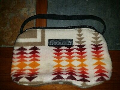 PENDLETON SOUTHWESTERN WOOL LEATHER COSMETIC TOILETRY SHAVE TRAVEL BAG 9x5.5
