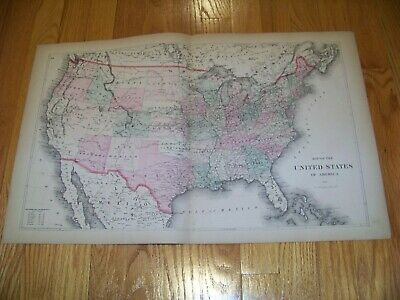 1872 Map F. W. Beers, Comstock & Cline United States of America