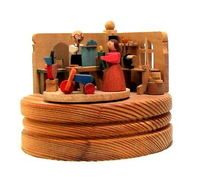 Extraordinary wooden MUSIC BOX Germany, carved wood figures, Munchner Musikdose