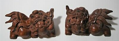 Pair of Chinese Wood Temple Hand Carved Reclining FOO Dogs