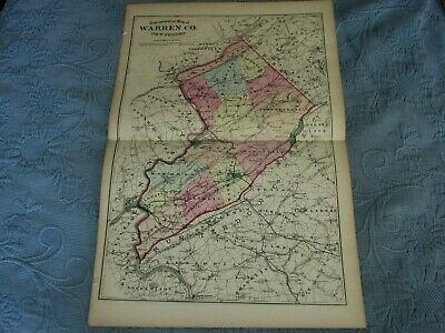 Antique 1872 Beers,Comstock, & Cline Map of Warren County,New Jersey