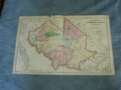 Antique 1872 Beers,Comstock, & Cline Map of Cumberland County,NJ