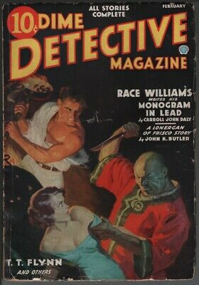 Dime Detective 1937 February. Asian menace cover. A Race Williams story by Daly