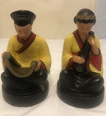 """Vintage Alexander Backer Chinese Man And Woman Figurine 8"""""""
