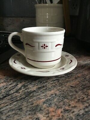 Longaberger USA WOVEN TRADITIONS Pottery TRADITIONAL RED Cup & Saucer Set