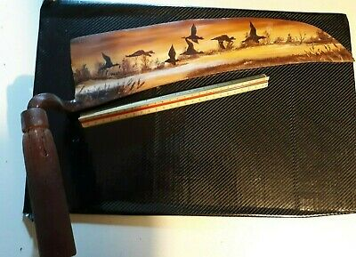 Antique Farm Hand painted signed Lee Hicks Sickle/Sythe Metal With Wood Handle