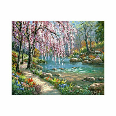 Canvas Paint By Numbers Kit Oil Painting Romantic creek DIY Frameless.Art.Gift