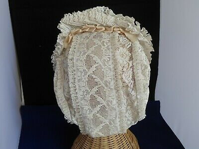 Beautiful Antique Lace Bonnet with 3 layers of Frills