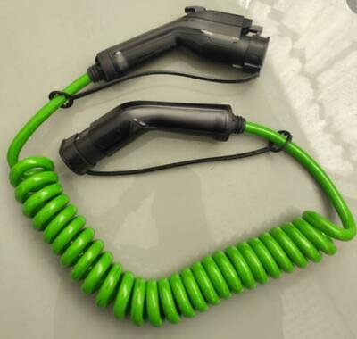 EV Coiled Charging Cable Type1 To Type2 Electric Car Spiral Charger 3.6KW SAE