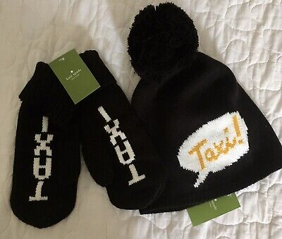 Hat KATE SPADE TAXI  BLACK Knit Beanie And Mittens $106 New