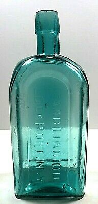 Green Tombstone Gargling Oil Used Antique Bottle Lockport NY HUGE 7 INCH