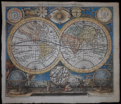 Weltkarte World Map Mappe Monde / Richter Beringeroth 1741