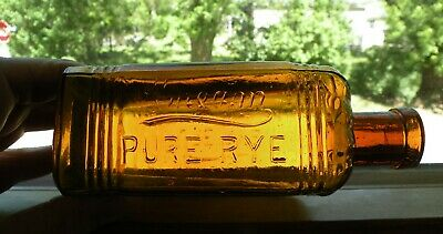 1800's amber CREAM PURE RYE  DALLEMAND & Co whiskey bottle CHICAGO