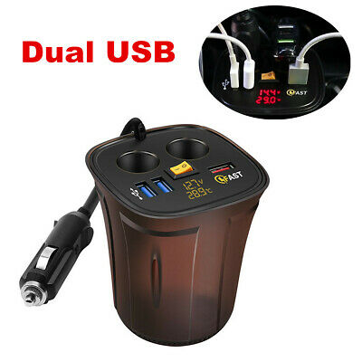 QC3.0 Car Charger Dual USB Cigarette Lighter Socket Adapter Plug Fast Charging