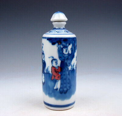 Blue&White Ox-Blood Red Kids Playing LARGE Tube Porcelain Snuff Bottle #03232006