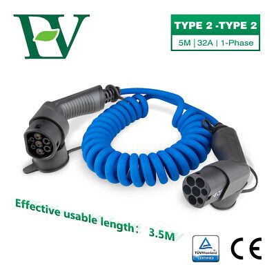 EV Coiled Charging Cable 32A 7.2KW Electric Car Spiral Charger Type2 To Type2