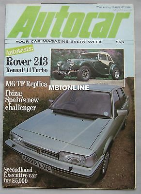 Autocar magazine 18 August 1984 featuring Naylor TF, Rover, Renault road test